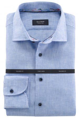 Olymp Signature shirt 100% linnen Licht blauw